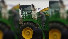Here comes the bride — on a John Deere