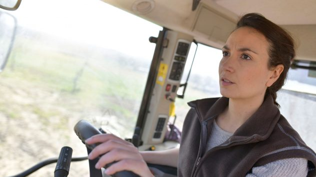 woman tractor