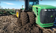 Tractor gets stuck deep in the South Dakota mud